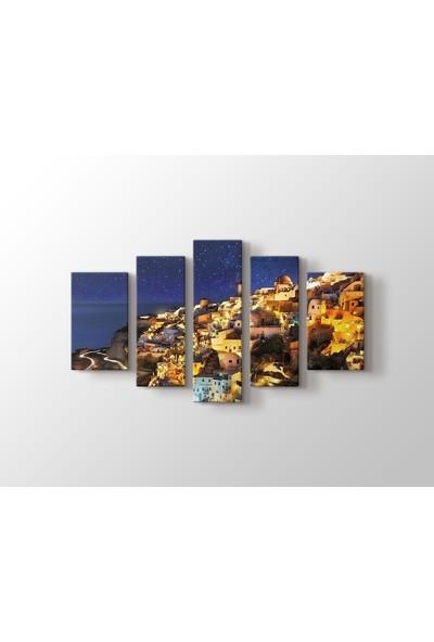 Dekorme Santorini, Greece 5 Parçalı Kanvas Tablo