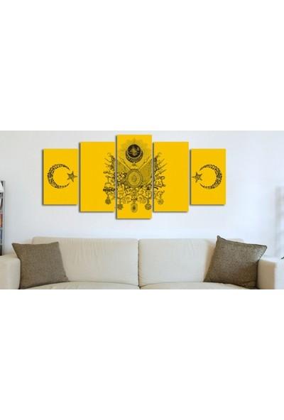 Dekorme Sarı Osmanlı Arması 5 Parçalı Kanvas Tablo