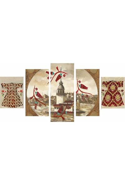 Dekorme Kız Kulesi 5 Parçalı Kanvas Tablo