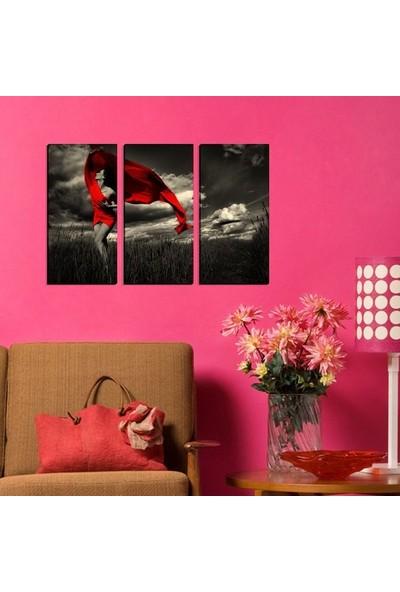 Dekorme Kırmızı Elbiseli Kadın 3 Parçalı Kanvas Tablo