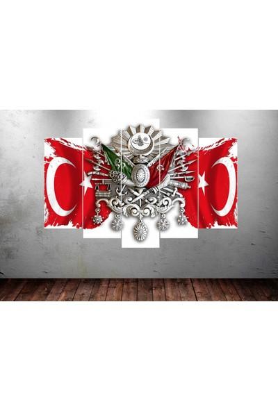 Dekorme Osmanlı Arması Ayyıldız 5 Parçalı Kanvas Tablo