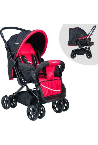 Baby Home BH-100 Çift Yönlü Siyah Kırmızı Bebek Arabası