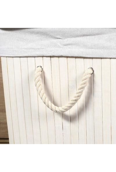 Adore Handy Mate Bambu Çamaşır Sepeti - Beyaz