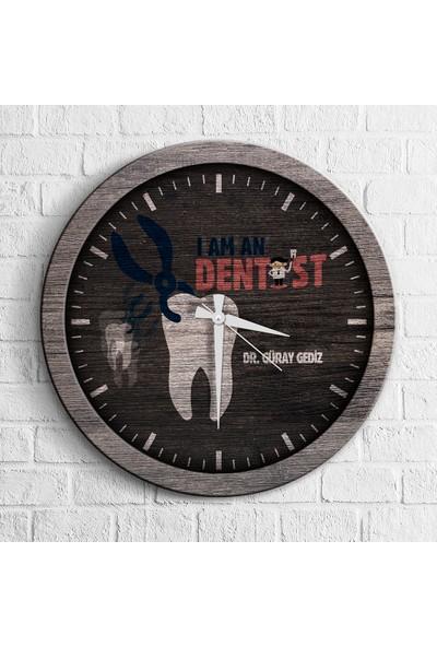 Leydi Collection Kişiye Özel Mesleki Diş Hekimi Ahşap Duvar Saati - 2
