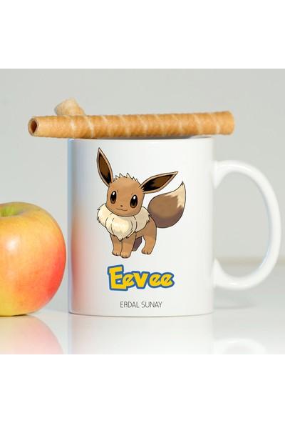 Leydi Collection Kişiye Özel Pokemon Eevee Beyaz Kupa Bardak