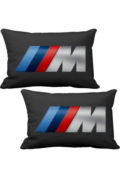 Asr BMW M Power 2 li Lüks Araç Boyun Yastığı Siyah ve Ahşap Logo Anahtarlık