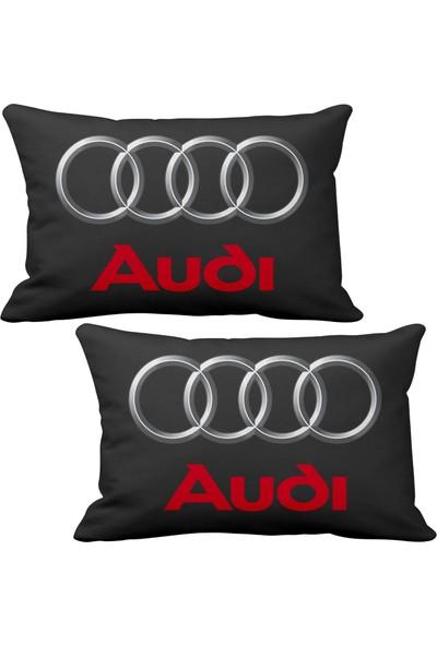 Asr Audi 2 li Lüks Araç Boyun Yastığı Siyah ve Ahşap Logo Anahtarlık