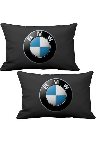 Asr BMW 2 li Lüks Araç Boyun Yastığı Siyah ve Ahşap Logo Anahtarlık