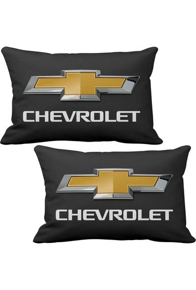 Asr Chevrolet 2 li Lüks Araç Boyun Yastığı Siyah ve Ahşap Logo Anahtarlık