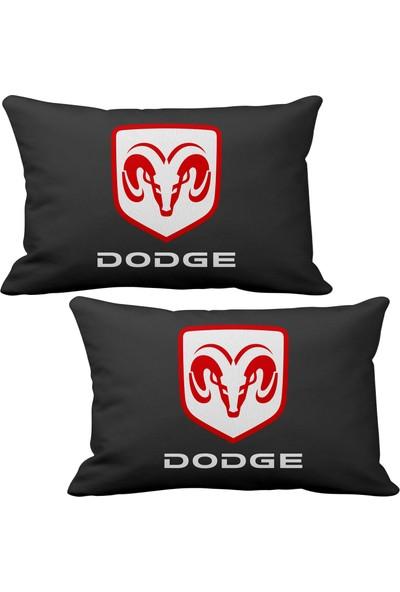 Asr Dodge 2 li Lüks Araç Boyun Yastığı Siyah ve Ahşap Logo Anahtarlık