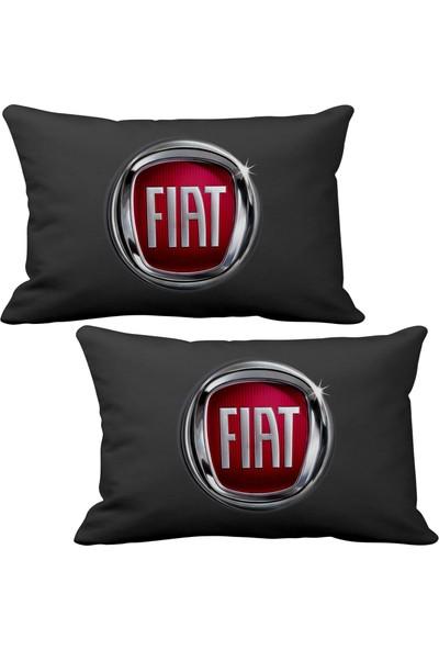 Asr Fiat 2 li Lüks Araç Boyun Yastığı Siyah ve Ahşap Logo Anahtarlık