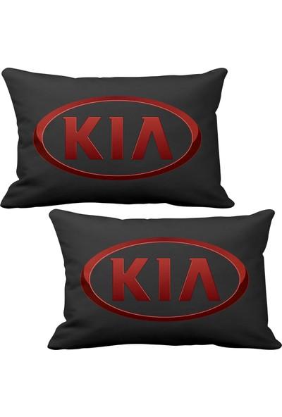 Asr Kia 2 li Lüks Araç Boyun Yastığı Siyah ve Ahşap Logo Anahtarlık