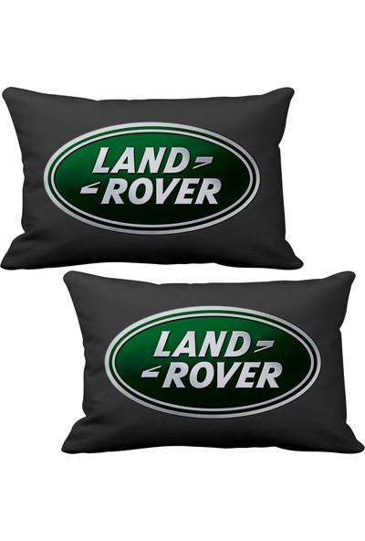 Asr Land Rover 2 li Lüks Araç Boyun Yastığı Siyah ve Ahşap Logo Anahtarlık