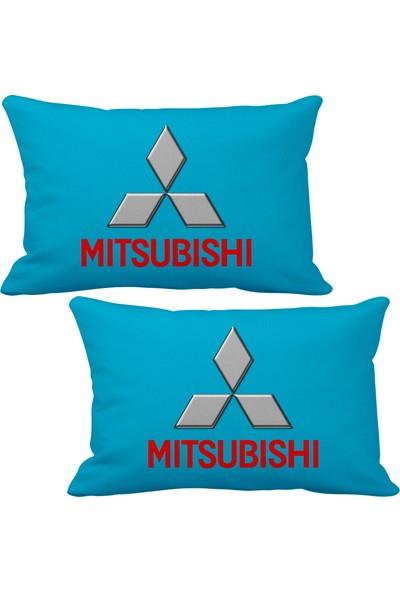 Asr Mitsubishi 2 li Lüks Araç Boyun Yastığı Mavi ve Ahşap Logo Anahtarlık