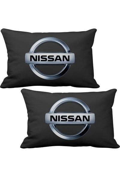 Asr Nissan 2 li Lüks Araç Boyun Yastığı Siyah ve Ahşap Logo Anahtarlık