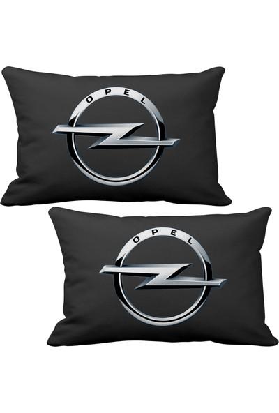 Asr Opel 2 li Lüks Araç Boyun Yastığı Siyah ve Ahşap Logo Anahtarlık