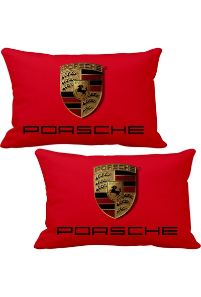 Asr Porsche 2 li Lüks Araç Boyun Yastığı Kırmızı ve Ahşap Logo Anahtarlık