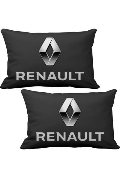 Asr Renault Reno 2 li Lüks Araç Boyun Yastığı Siyah ve Ahşap Logo Anahtarlık