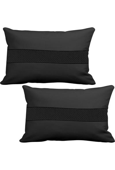 Asr Seat 2 li Lüks Araç Boyun Yastığı Siyah ve Ahşap Logo Anahtarlık
