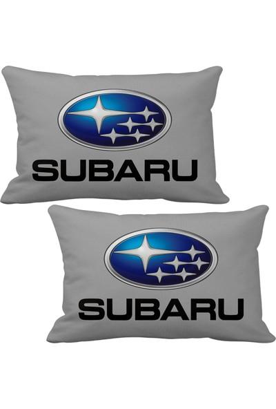 Asr Subaru 2 li Lüks Araç Boyun Yastığı Gri ve Ahşap Logo Anahtarlık