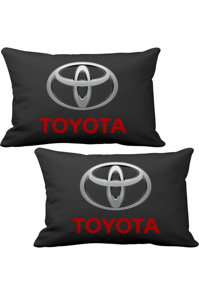 Asr Toyota 2 li Lüks Araç Boyun Yastığı Siyah ve Ahşap Logo Anahtarlık