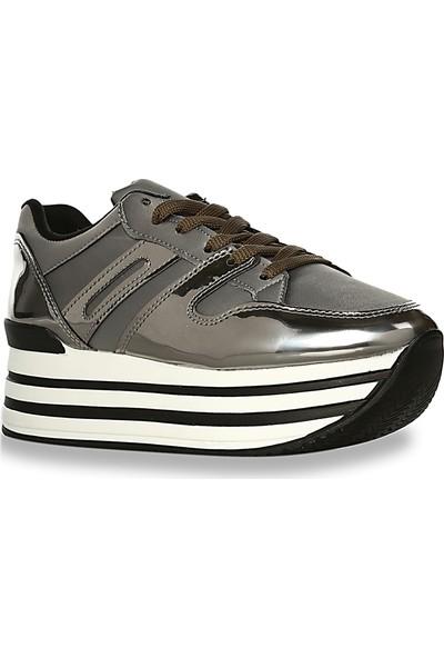 Iva Mae 1090- Gri Saten Platin Ayna Kadın Sneaker