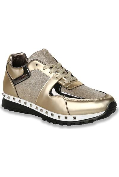 Iva Mae 1101- Mat Altın Simli Kadın Sneaker