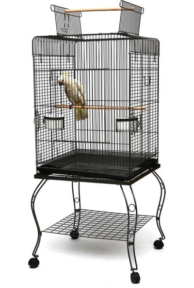 P923 Blk Ayaklı Papağan Kafesi Siyah
