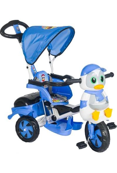 Baby Poufi Penguen Ebeveyn Kontrollü Bisiklet Mavi