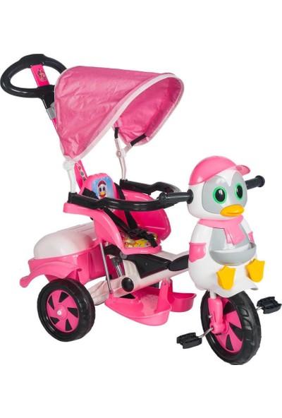 Baby Poufi Penguen Ebeveyn Kontrollü Bisiklet Pembe