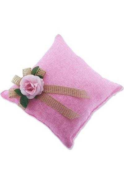 Mutlu Adım 30 x 30 cm Keten Takı Yastığı Pembe Çiçekli