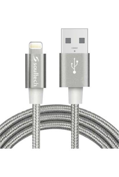 Soultech 2.0 A Lightning İp Örgü Metal Data Şarj Kablosu Gri