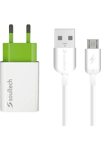 Soultech 2.1 A Ev Şarj Adaptörü & Micro USB Data Şarj Kablosu