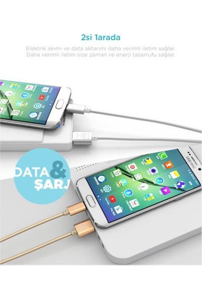Pineng PN-306 Micro USB 3 Metre Örgülü Altın Kablo