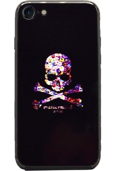 AntDesign iPhone 7 / iPhone 8 Cam Baskı Desenli Kılıf Skull