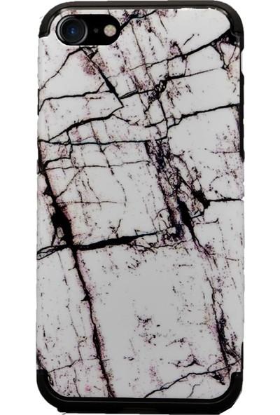 AntDesign iPhone 7 / iPhone 8 Mermer Desen Kılıf Beyaz