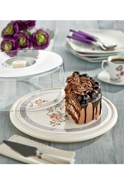 Özmet Çiçek Desenli Pasta & Kek Fanusu