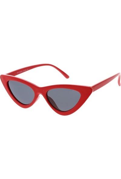 Retro Üçgen Cat-Eye Bayan Güneş Gözlüğü Kırmızı