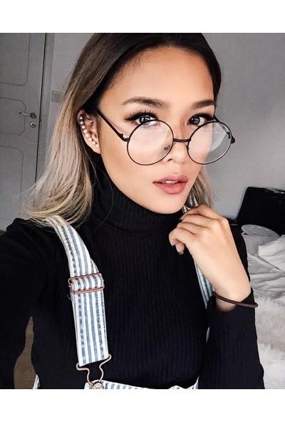 Şeffaf Camlı Retro Yuvarlak Gözlük Siyah