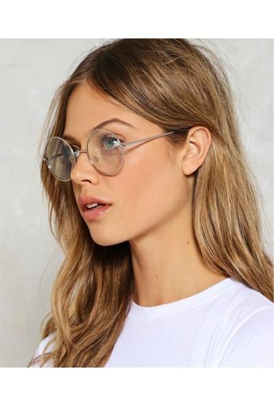 Şeffaf Camlı Retro Yuvarlak Gözlük Silver