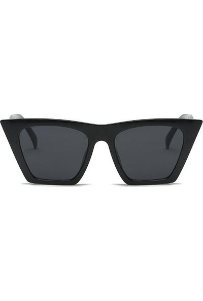 Designer Cat Eye Köşeli Bayan Güneş Gözlüğü Siyah