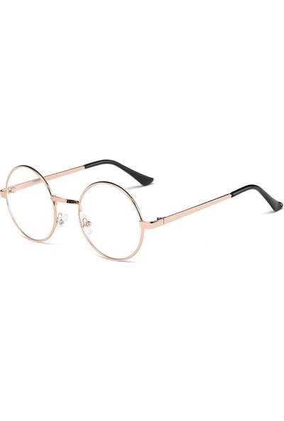 Şeffaf Camlı Retro Yuvarlak Gözlük Rose