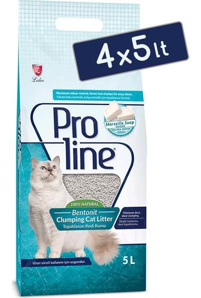 Pro Line Mar silya Sabunu Kokulu Topaklanan Kedi Kumu 5 Lt (4 Adet)