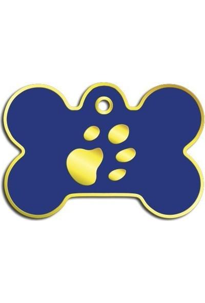Pet Tag Kemik Şeklinde 24 Ayar Altın Kaplama Büyük Köpek Künyesi (Lacivert)