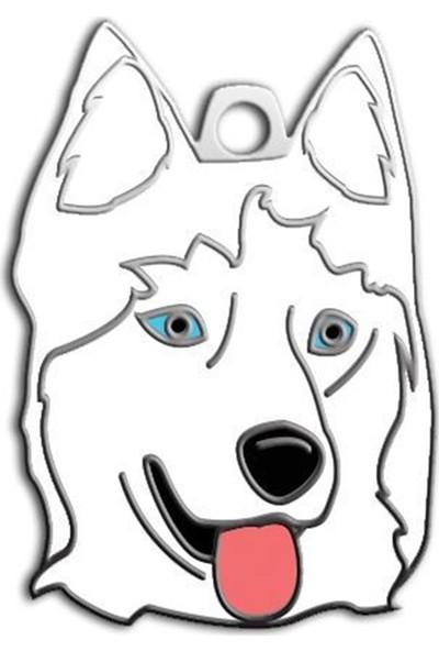Pet Tag Sibirya Kurdu Köpek Künyesi (Beyaz)