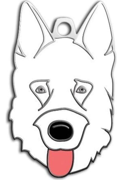 Pet Tag Alman Kurdu Köpek Künyesi (Beyaz)