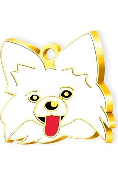 Pet Tag 24 Ayar Altın Kaplama Papillon Köpek Künyesi (Beyaz)