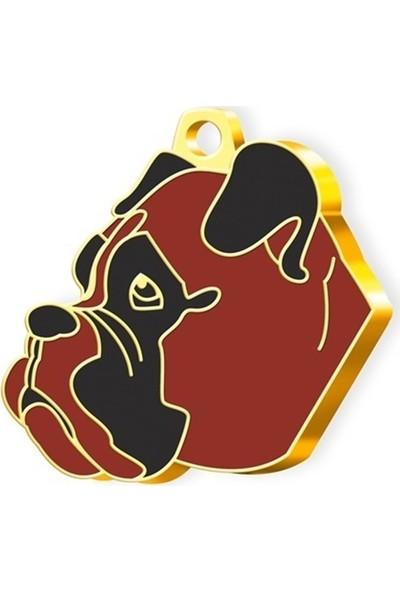 Pet Tag 24 Ayar Altın Kaplama Boxer Köpek Künyesi