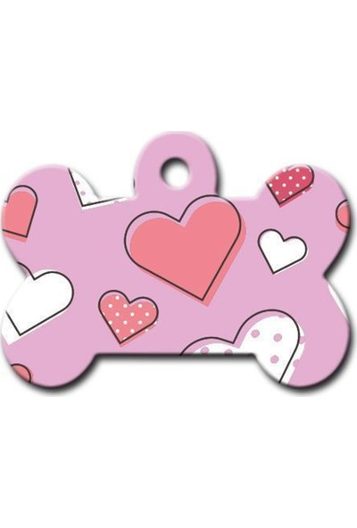 Pet Tag Kalp Desenli Kemik Köpek Künyesi
