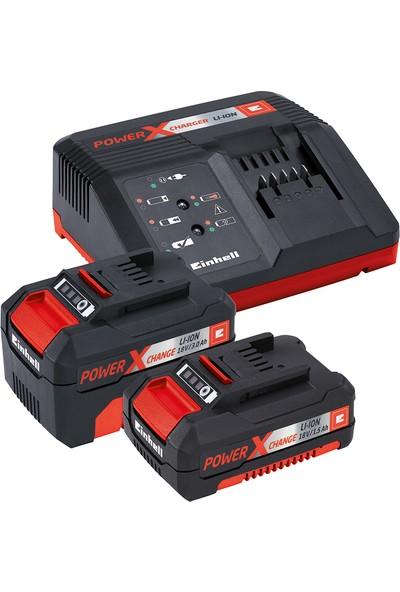 Einhell Power X Change TE-TK 18 Combo Set (Lityum iyon 18 V, akülü matkap TE-CD 18/2 Li, akülü açılı taşlama makinası TE-AG 18/115 Li1,5 Ah akü, 3 Ah akü, hızlı şarj cihazı dahil)
